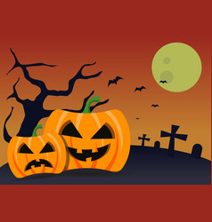halloween pumkins background vector image