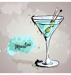 Hand drawn cocktail marniti vector