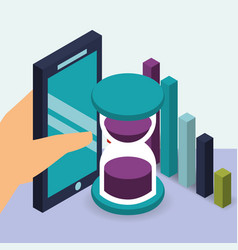 Hand holding smartphone business hourglass and vector