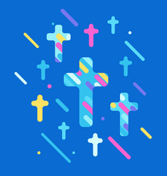 happy easter with crosses vector image