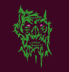 horror monster green face of the darkness vector image