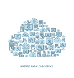 Hosting network and cloud service icons vector image