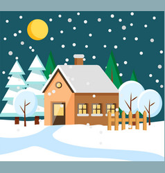 House in rural area at winter night town building vector