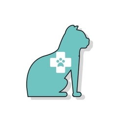 Isolated cat pet and cross design vector