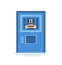 Isolated prisoner in jail vector