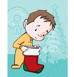 kid with christmas stocking holiday vector image