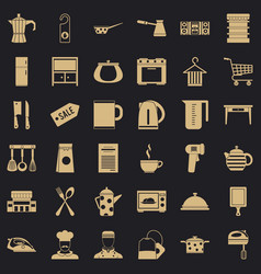 kitchen dinner icons set simple style vector image
