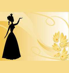 Leaflet background with black victorian lady vector