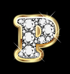 Letter p gold and diamond vector