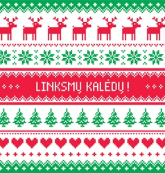 Linksmu Kaledu - Merry Christmas greetings card vector image