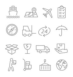 logistic and delivery line icons vector image