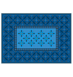 Luxury carpet in blue and orange shades vector