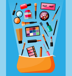 makeup collection in bag decorative cosmetics vector image