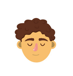 Man head with closed eyes and hairstyle vector