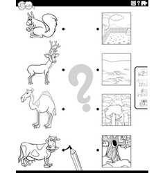 match animals and their environments coloring vector image