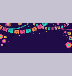 mexican fiesta banner and poster design with flags vector image