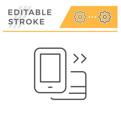 mobile banking editable stroke line icon vector image
