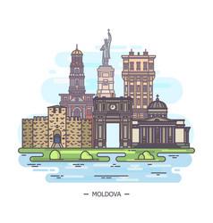 Moldovan landmarks or moldova sightseeing places vector