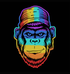 monkey head smile colorful vector image