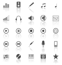 Music icons with reflect on white background vector image