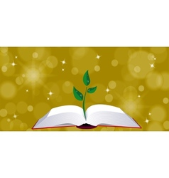 Open book with tree sprout vector image