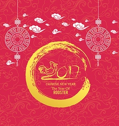 Oriental chinese new year rooster background vector