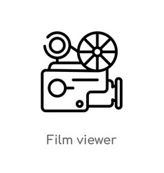 Outline film viewer icon isolated black simple vector
