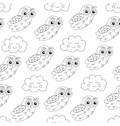 Owl and sleep clouds seamless pattern vector