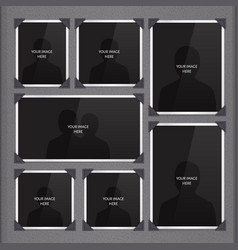Page photo album with photo frames and corner vector