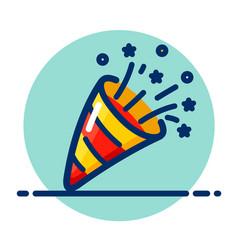 Party popper color icon vector