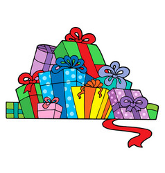 Pile of various gifts vector