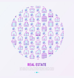 real estate concept in circle with thin line icons vector image