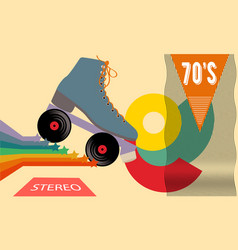 Retro poster in style 70s roller vector