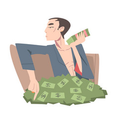 rich businessman sitting in pile money wealthy vector image