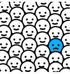 Sad depressed emoticon in crowd - isolated vector