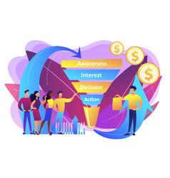 Sales funnel management concept vector