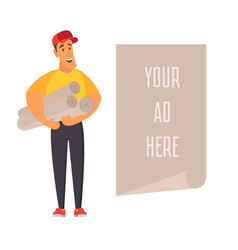 Salesman holding banner with place for vector
