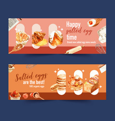 Salted egg banner design with bread choux cream vector