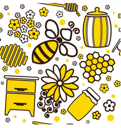 Seamless cartoon pattern with honey jars and bee vector