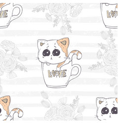 Seamless pattern with cute hand drawn kitten in a vector