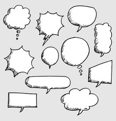 set hand drawn comic bubble speech vector image