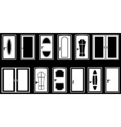 set isolated doors vector image vector image
