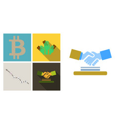 Set of economic icons included chart with icons vector
