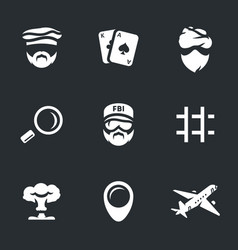 Set of fbi work icons vector