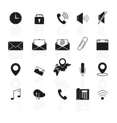 set of interface line icons reflections vector image