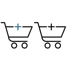 shopping trolley with a plus icon vector image