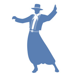 Silhouette of gaucho with hat dancing typical vector