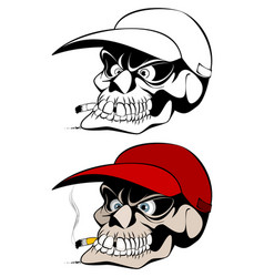 smoking skull in cap vector image