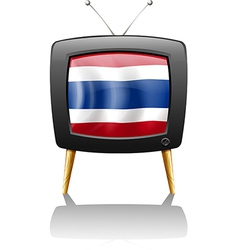 The flag of Thailand inside the television vector