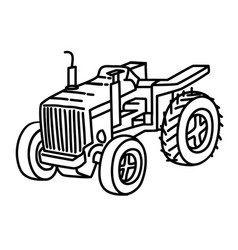 tracktor icon doodle hand drawn or outline icon vector image